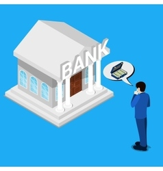 Man Thinking about Bank Credit Isometric People vector image