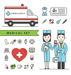 Medicine Concept Set With Ambulance And Doctors vector
