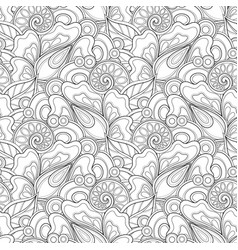 Monochrome seamless pattern with floral motifs vector