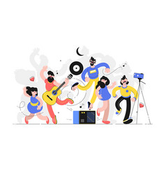 People fun to dance together vector