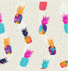 Pineapple pattern background in color art style vector