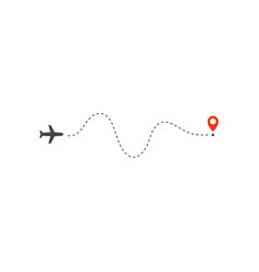 plane way icon airplane waving path direction and vector image
