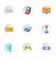 Play console icons set cartoon style vector