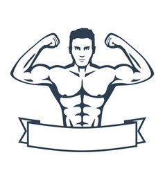 Posing athlete strong bodybuilder man isolated on vector