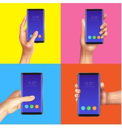 realistic gadgets hands design concept vector image