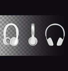 realistic white headphones icon set vector image