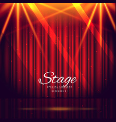 Red stage background with closed curtains vector
