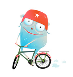 Riding bicycle monster wearing helmet vector
