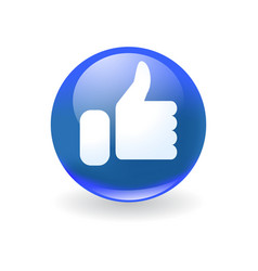 Round blue icon with white hand like symbol vector