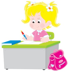 schoolgirl writing a test in school vector image