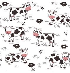 seamless pattern with cows on a white background vector image