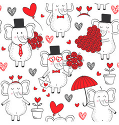 seamless pattern with elephant in love vector image