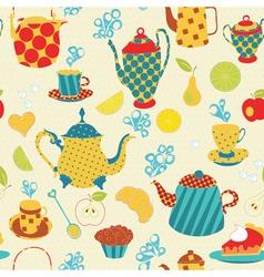 Seamless tea pattern vector