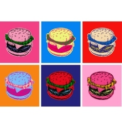 Set burger pop art style vector