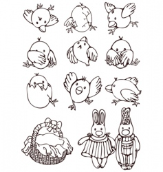 set cartoons for easter vector image
