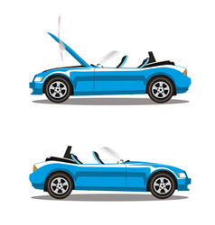 set of broken cartoon cyan blue cabriolet sport vector image