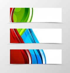 Set of header banner dynamic wave design vector