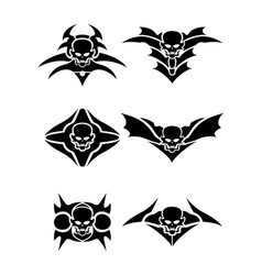 skull tribal tattoo set vector image