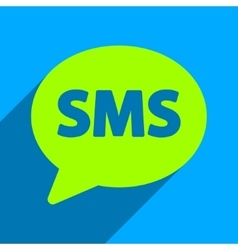 SMS Bubble Flat Square Icon with Long Shadow vector