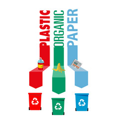 sorting of recycle garbage bin plastic organic pap vector image
