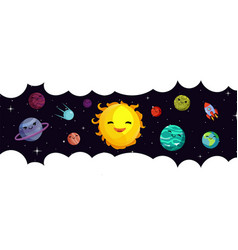 space banner template cartoon planets vector image