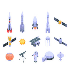 Space research technology icons set isometric vector