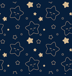 starry sky seamless childrens pattern vector image
