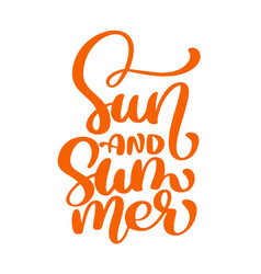 sun and summer lettering logo vector image