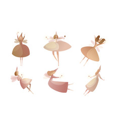 Tender fairies in neat dresses flying with magic vector