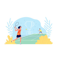 tennis academy girl plays sport game sportsmen vector image