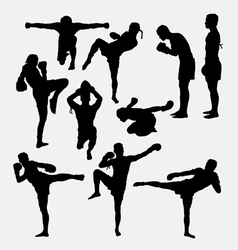 Thai boxer martial art silhouettes vector