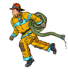 The firefighter rushes to help fire hose vector