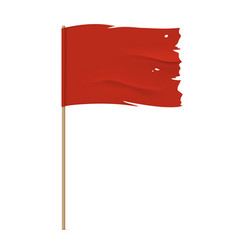 Torn red flag template vector