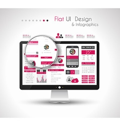 UI Flat Design Elements in a modern HD screen vector image