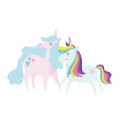 unicorns dream magic decoration cartoon isolated vector image