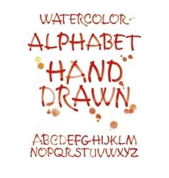 Watercolor hand written orange alphabet vector image