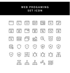 web programing outline icon set vector image