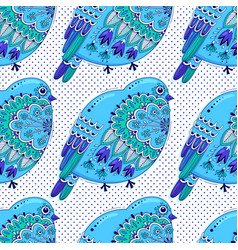 white and blue color seamless pattern with birds vector image