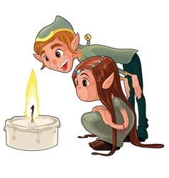 Young elf with a candle vector image