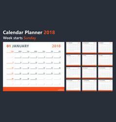 calendar 2018 starts sunday calendar vector image vector image