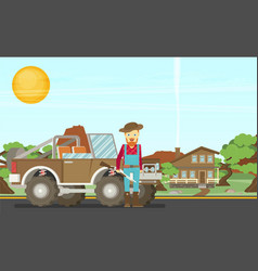 Cartoon hunter with gun redneck car nature vector