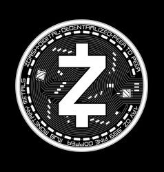 crypto currency zcash black and white symbol vector image