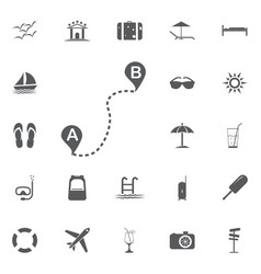 distance solid icon navigation and route map vector image