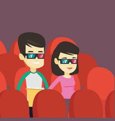 happy friends watching 3d movie in the theatre vector image