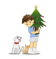 little boy with cat and dog holding christmas tree vector image