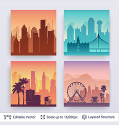 american famous city scapes vector image