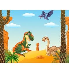 Cartoon happy dinosaur collection with prehistoric vector image