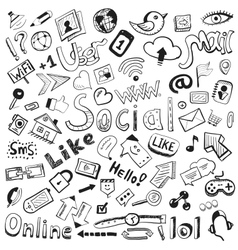 hand drawn icons big set of modern social doodles vector image vector image
