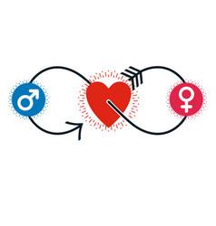 love couple conceptual logo unique symbol male vector image