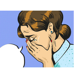 pop art of crying woman vector image